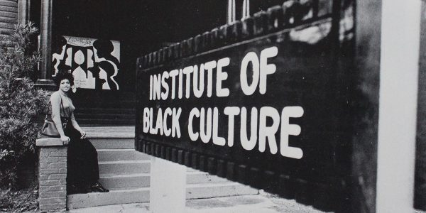 A woman outside of the Institute of Black Culture
